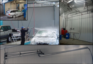 Hotsy Iowa hose management for custom wash bay design